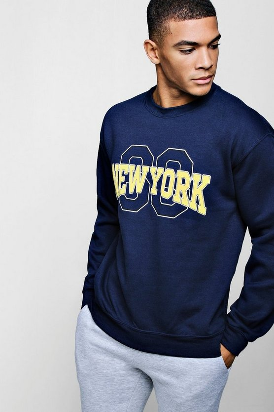 New York State Chest Print Sweatshirt