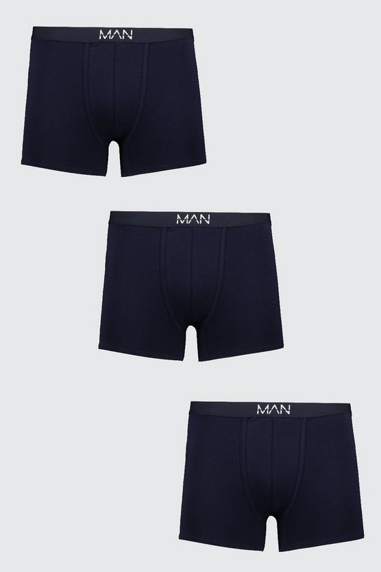 Mens 3 Pack MAN Dash Boxers In Navy