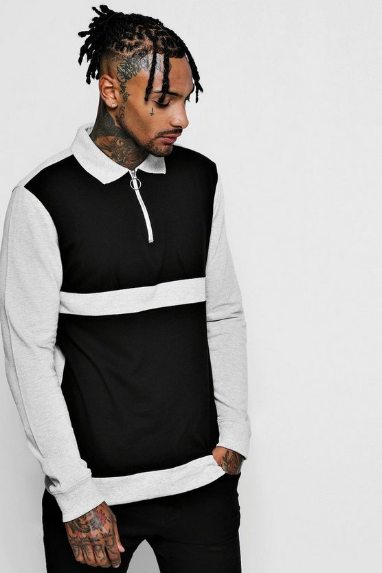 Mens Black Long Sleeve Colour Block Pique Ring Pull Polo