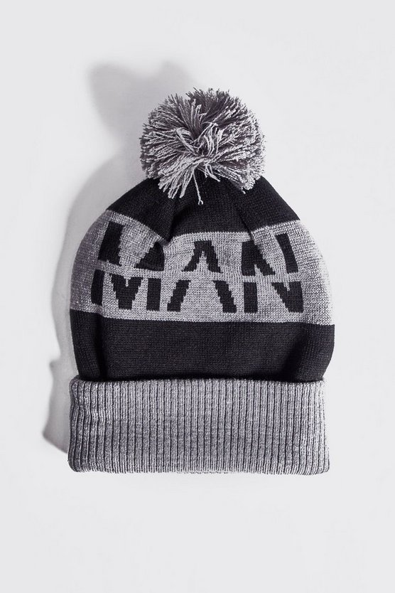 Mens Grey MAN Slogan Knitted Bobble Beanie