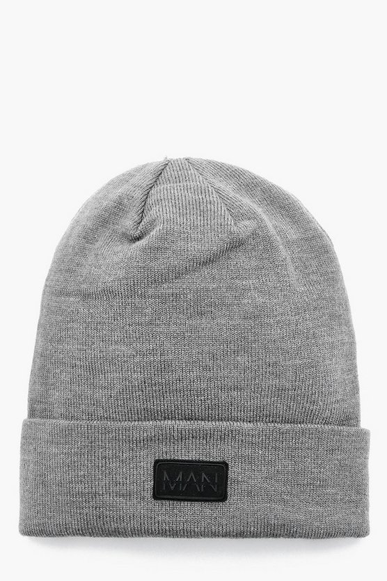 Mens Grey Turn Up Rubber MAN Patch Beanie