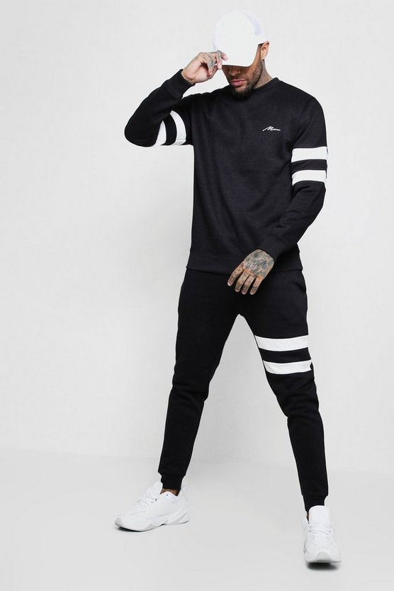 Contrast Sleeve Panel Sweater Tracksuit