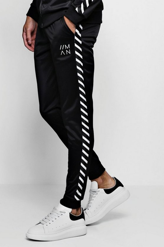 Tricot Skinny Fit Side Tape Joggers With MAN Logo