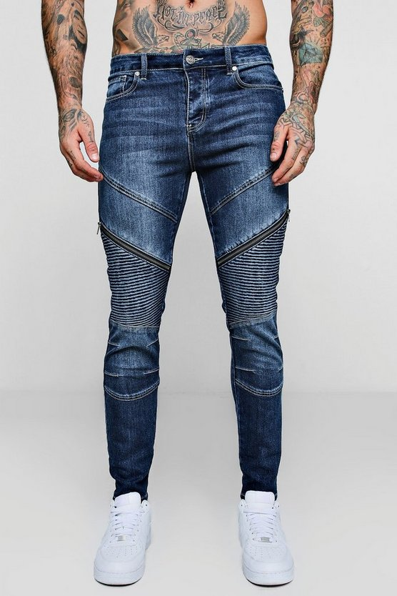 Dark blue Skinny Fit Biker Jeans with Zip Detail
