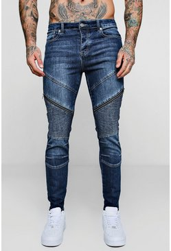 Mens Dark blue Skinny Fit Biker Jeans with Zip Detail