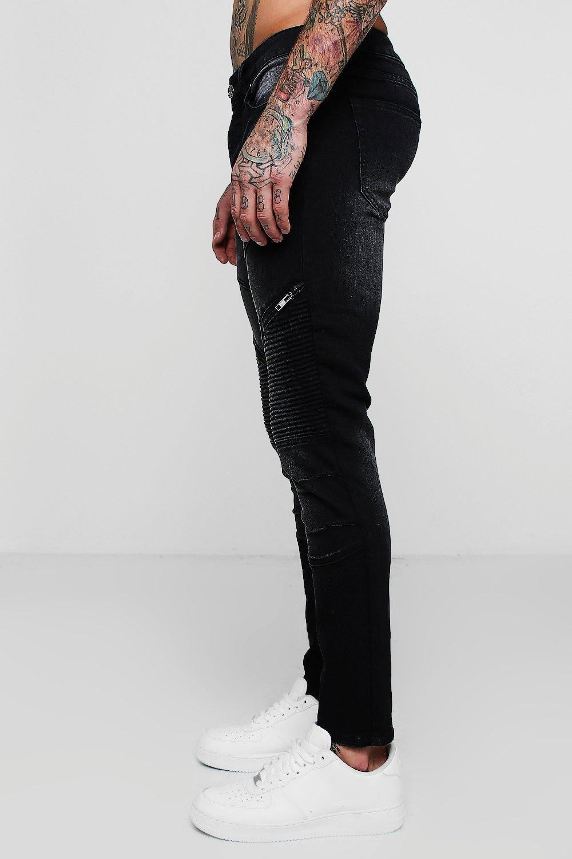 fit oscuro azul Jeans de cremallera detalle biker con skinny xwwqFET4v