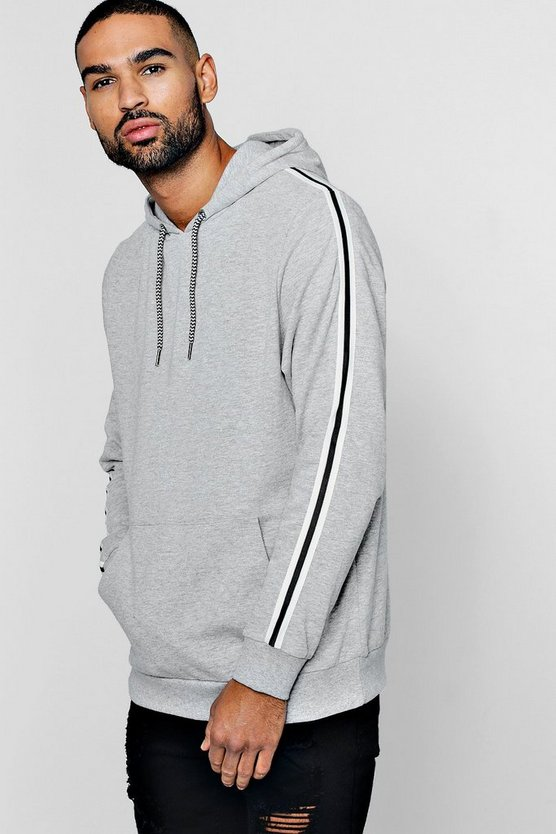 Fleece Hoodie with Side Tape Detail