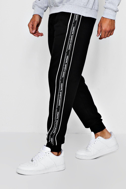 ajuste de Pantalones estándar de detalle cinta correr lateral negro con y aw4B6