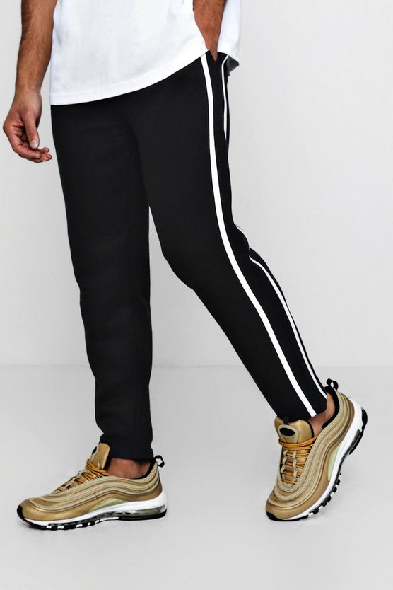 Cropped Fleece Jogger with Stripes