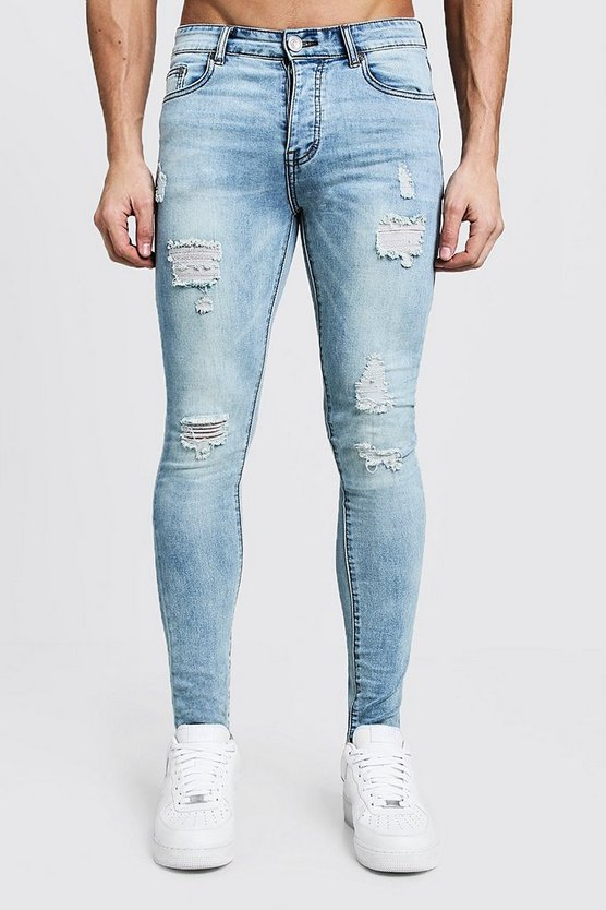 Spray On Skinny Jeans With Distressing