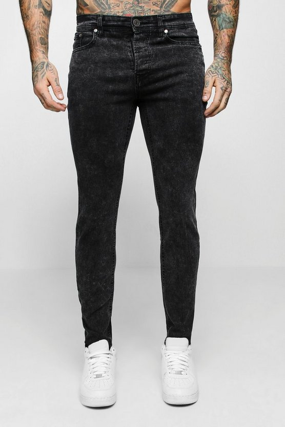 Skinny Fit Charcoal Acid Wash Jeans