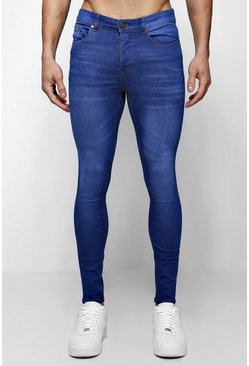 Jeans skinny blu scuro intenso effetto spray on, Maschio