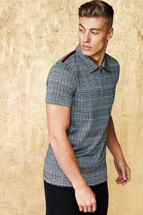 Jacquard Check Polo with Side Tape