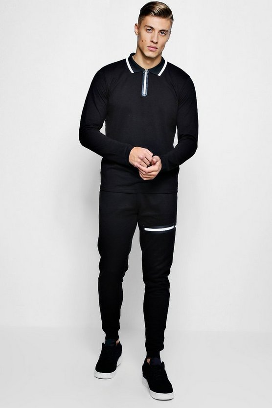 Long Sleeve Polo & Jogger Set with Sports Zip