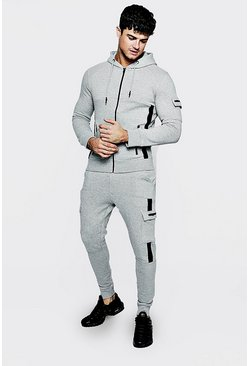 Mens Grey marl Zip Through Tape Detail Tracksuit