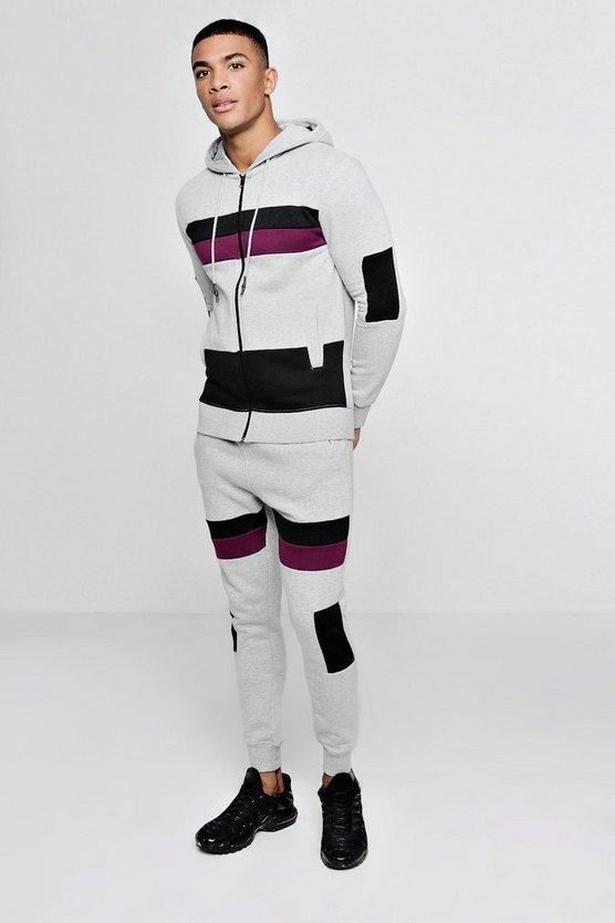 Zip Through Tracksuit With Contrast Panels