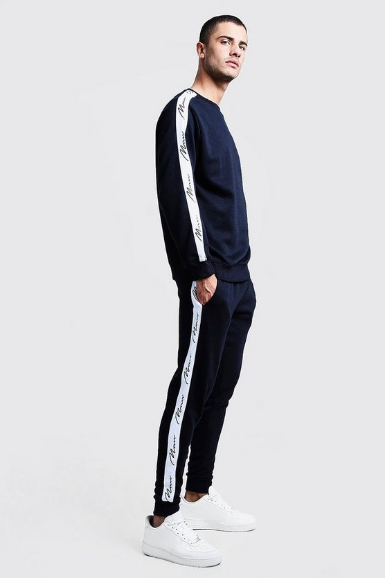 Mens Navy MAN Signature Tape Sweater Tracksuit