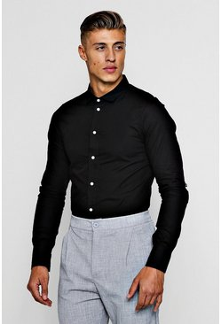 Slim Fit Long Sleeve Shirt With Contrast Buttons, Black