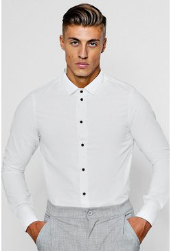 Slim Fit Long Sleeve Shirt With Contrast Buttons, White, Мужские