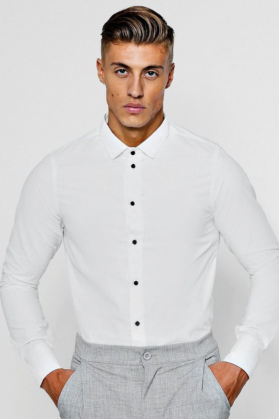 Mens White Slim Fit Long Sleeve Shirt With Contrast Buttons