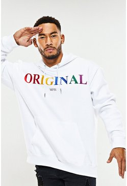 Mens White Oversized Original MAN Rainbow Embroidered Hoodie