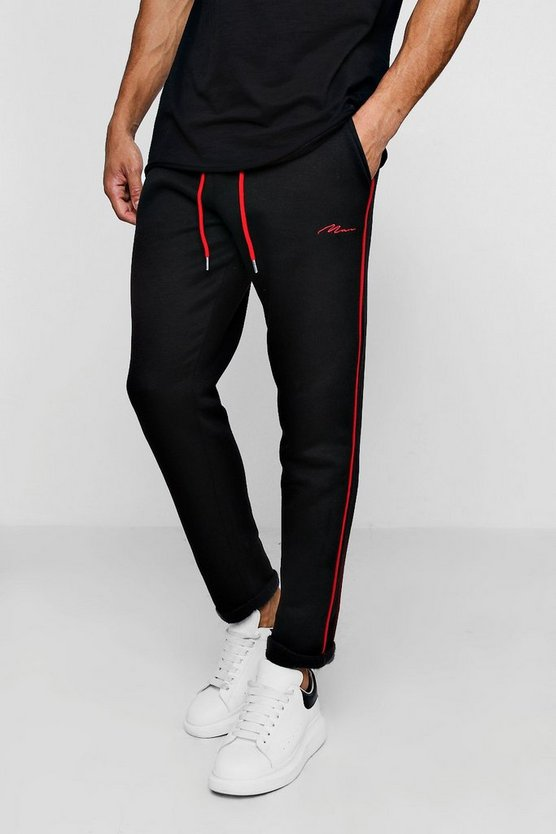 Tapered MAN Signature Joggers With Contrast Piping