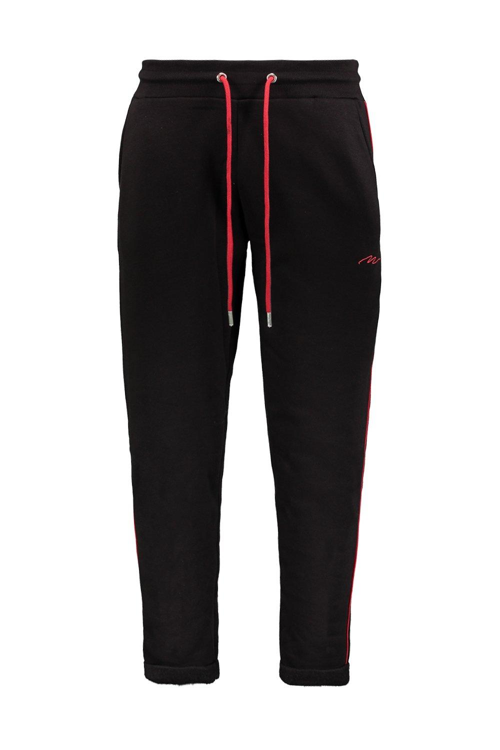 Contrast Piping MAN Tapered Signature black With Joggers PnZxwqazRB
