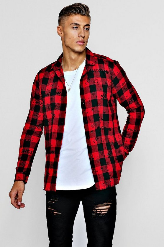 Long Sleeve Check Shirt With Graffiti Print