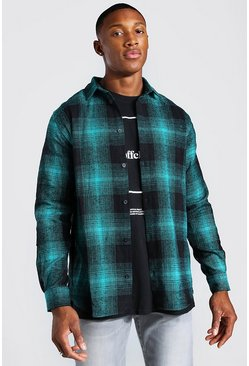 Herr Navy Long Sleeve Flannel Check Shirt