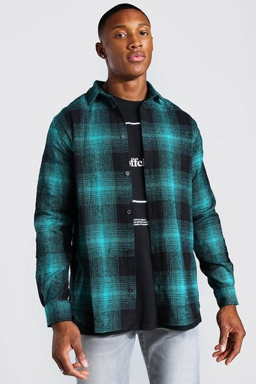 Navy Long Sleeve Flannel Check Shirt