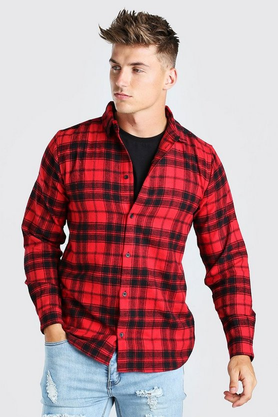 Mens Red Long Sleeve Flannel Check Shirt