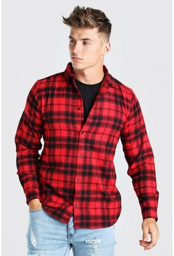 Herr Red Long Sleeve Flannel Check Shirt