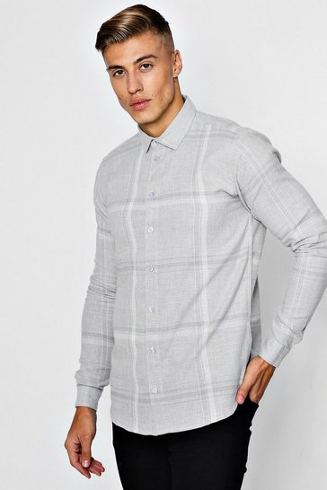 Mens Grey Long Sleeve Flannel Check Shirt