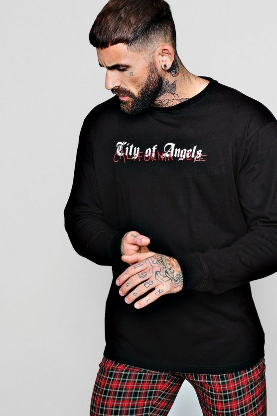 Loose Fit City Of Angles Long Sleeve T Shirt Loose Fit City Of Angles Long Sleeve T Shirt by Boohoo