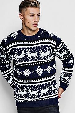 1940s Style Mens Shirts, Sweaters, Vests Reindeer Fairisle Christmas Jumper $36.00 AT vintagedancer.com