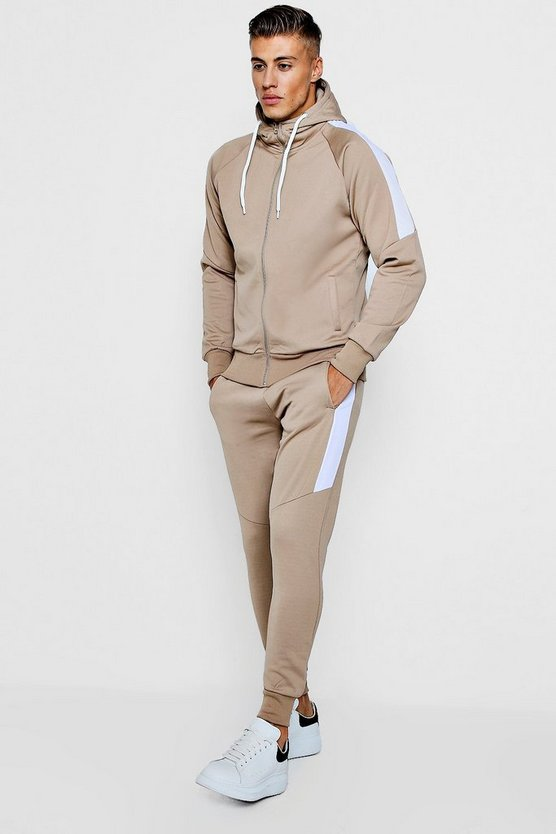Tricot Zip Through Tracksuit With Contrast Panels