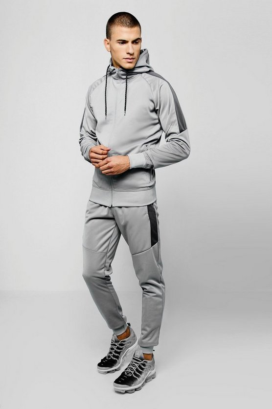 Tricot Zip Hooded Tracksuit With Contrast Panels