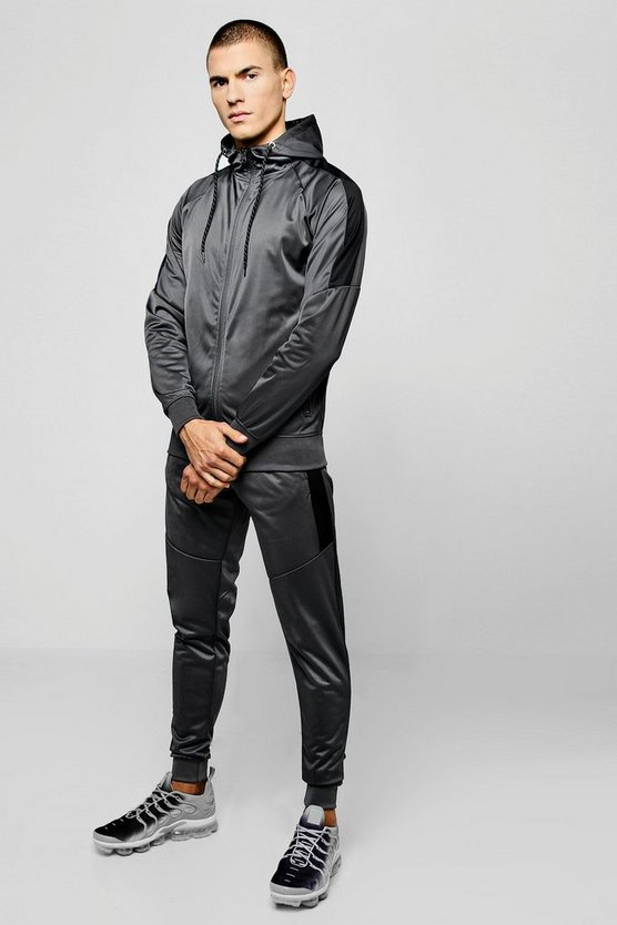 Tricot Zip Hooded Tracksuit With Contrast Panels by Boohoo Man