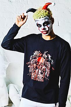 Halloween Loose Fit Long Sleeve Tee With Devil Print