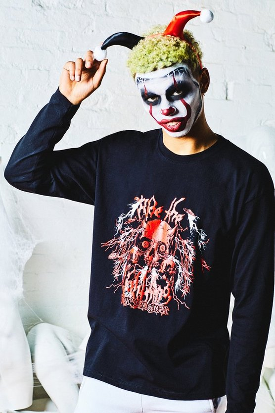 Mens Black Halloween Loose Fit Long Sleeve Tee With Devil Print