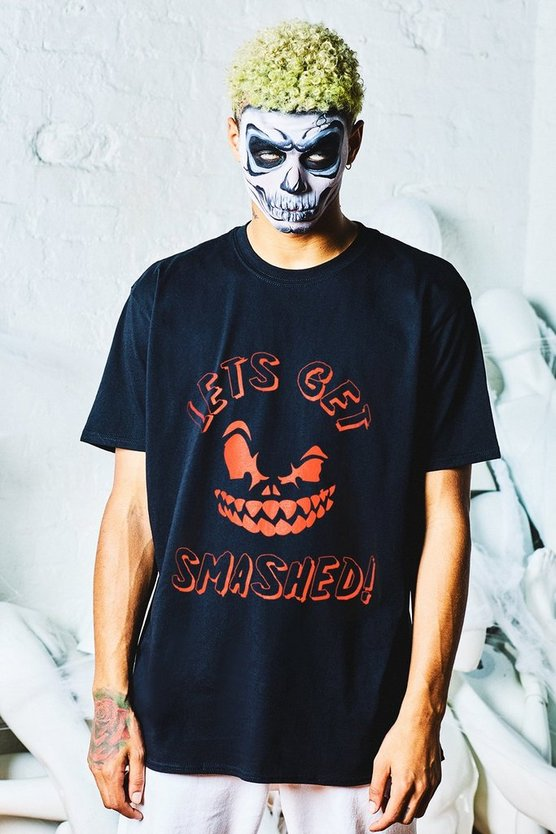 Mens Black Halloween Oversized Lets Get Smashed T-Shirt