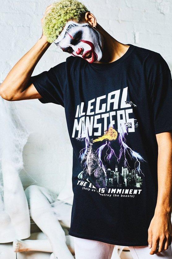 Halloween Graphic Print Oversized T Shirt by Boohoo Man