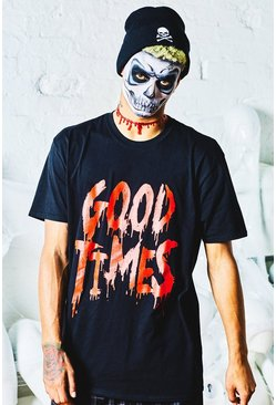 Halloween Oversized 'Good Times' Slogan T-Shirt, Black, Uomo