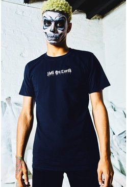 Mens Navy Halloween Oversized Hell On Earth T-Shirt