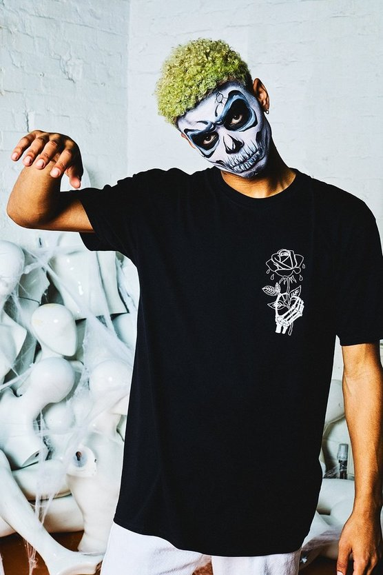 Halloween Oversized Wilted Rose Back Print T-Shirt