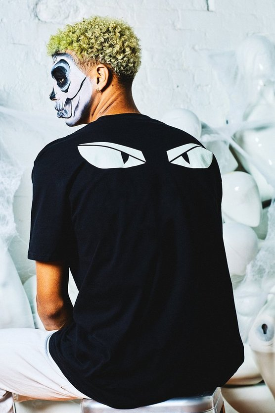 Glow In The Dark Eyes Oversized Back Print T-Shirt