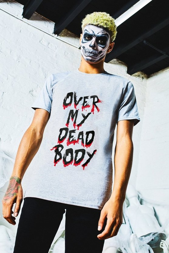 Halloween Over My Dead Body Slogan T-Shirt