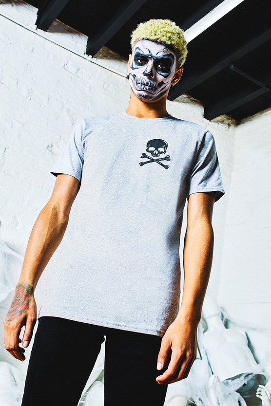 Halloween Skull + Cross Bones Crew Neck T-Shirt