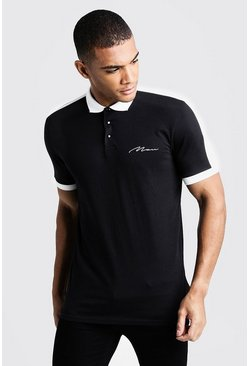 MAN Signature Colour Block Polo, Black, HERREN