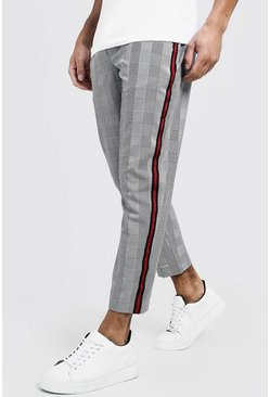 Woven Cropped Jogger With Side Tape, Black, Uomo